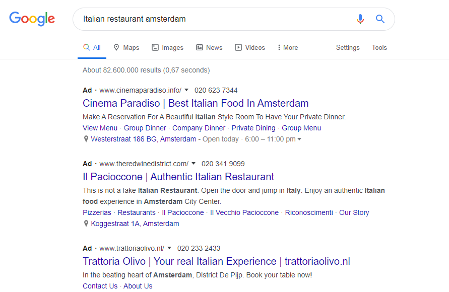 Example of Google Search Ads