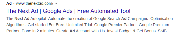 How To Advertise Your Online Store | Google Search Text Ad | The Next Ad